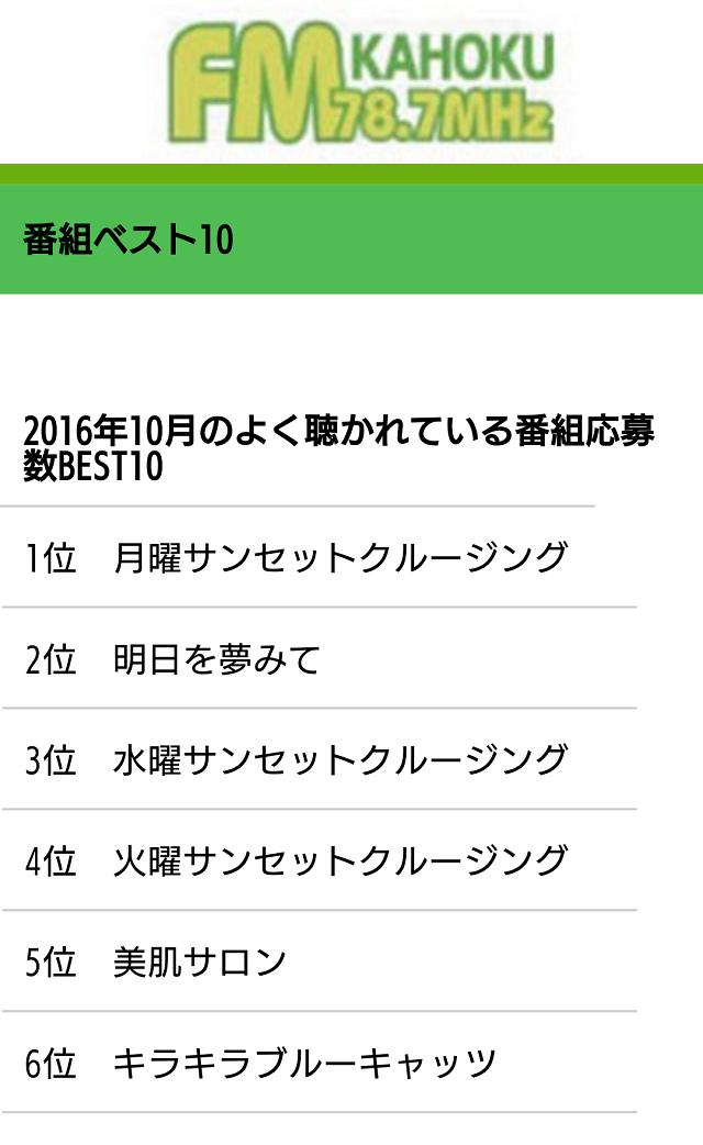 FMかほく 10月ベスト10