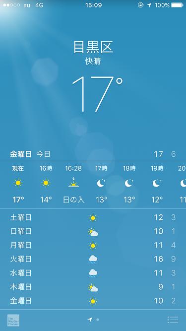 2016年12月9日iPhone天気アプリスクリーンショット by占いとか魔術とか所蔵画像