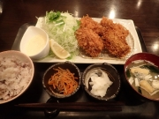 大泉学園 とんかつ多酒多彩地蔵 牡蠣フライ(4個)御膳(2017/1/29)