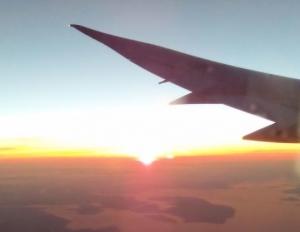 飛行機からの夕日