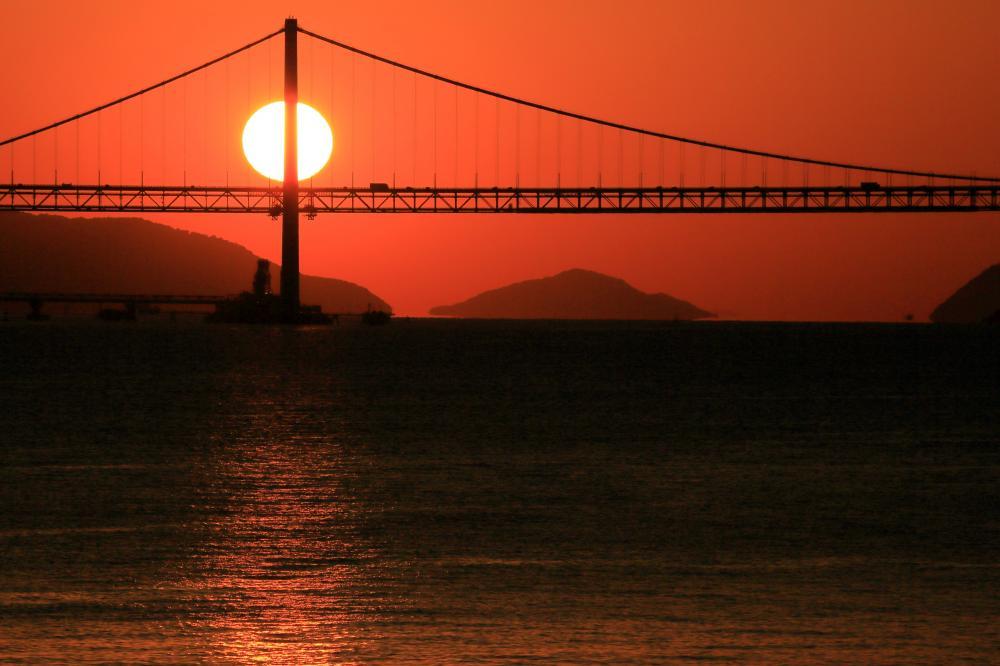 瀬戸大橋と夕陽