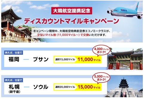 JALマイレージバンク大韓航空提携記念 ディスカウントマイルキャンペーン