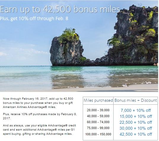 アメリカン航空 AAdvantage マイルを購入して、最大43%のボーナス_ 10%OFF