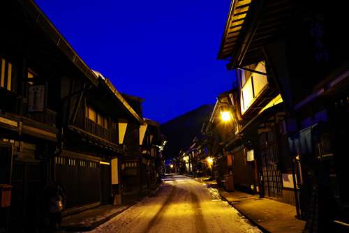 奈良井宿の夜景・奈良井宿の夜明け