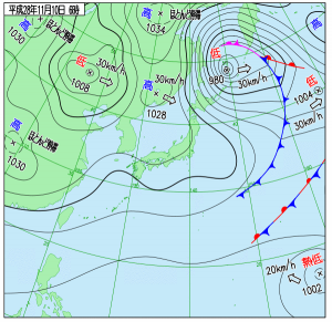11月10日(木)6時の実況天気図