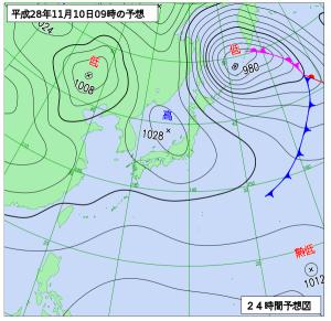 11月10日(木)9時の予想天気図