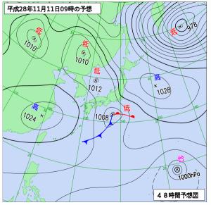 11月11日(金)9時の予想天気図