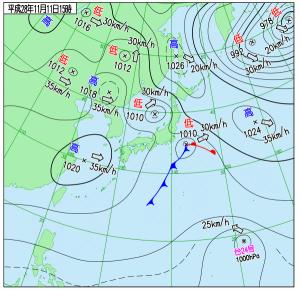 11月11日(金)15時の実況天気図