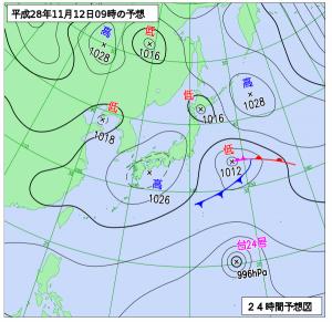 11月12日(土)9時の予想天気図