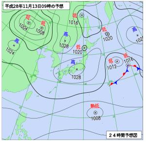 11月13日(月)9時の予想天気図
