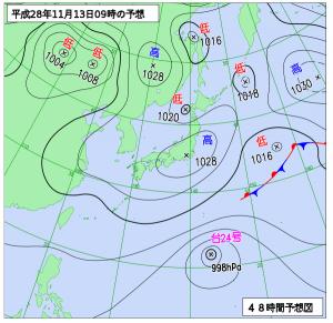 11月13日(日)9時の予想天気図
