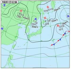 11月13日(日)15時の実況天気図