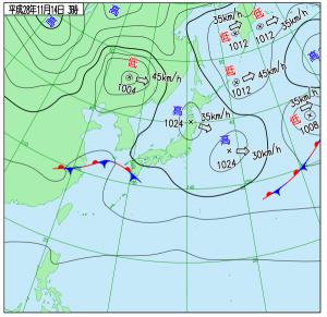 11月14日(月)6時の実況天気図