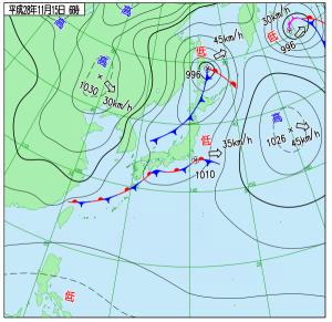 11月15日(火)6時の実況天気図