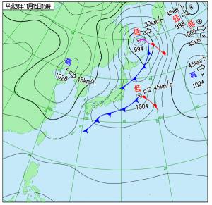 11月15日(火)15時の実況天気図