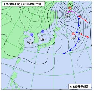 11月16日(水)9時の予想天気図