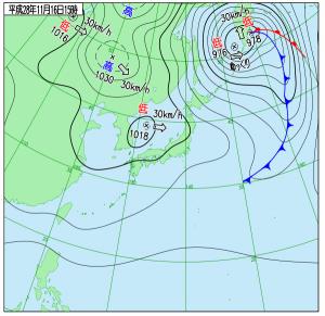 11月16日(水)15時の実況天気図