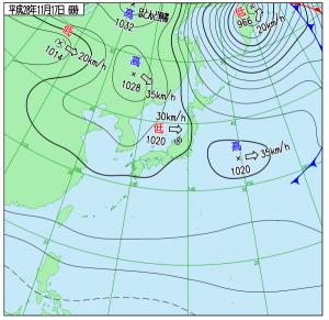 11月7日(木)6時の実況天気図