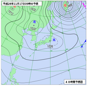 11月17日(木)9時の予想天気図