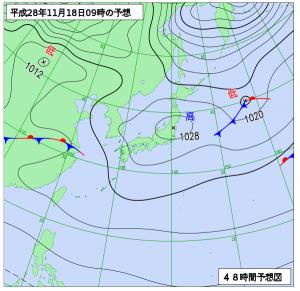 11月18日(金)9時の予想天気図