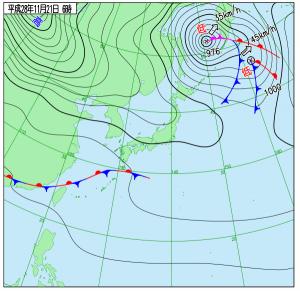 11月21日(月)6時の実況天気図