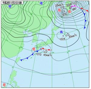11月21日(月)15時の実況天気図