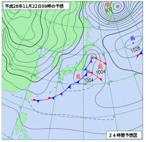 11月22日(火)9時の予想天気図