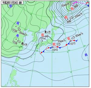 11月24日(木)6時の実況天気図