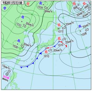 12月27日(日)15時の実況天気図