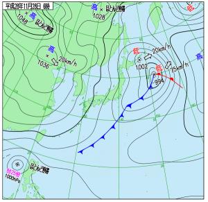 11月28日(月)6時の実況天気図