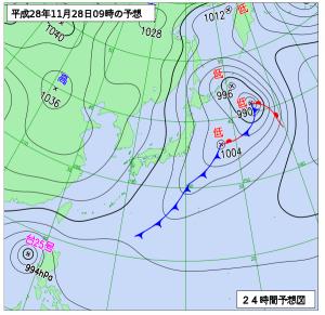 12月28日(月)9時の予想天気図