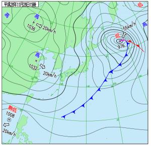11月28日(月)15時の実況天気図