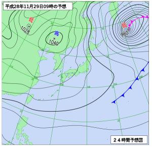 11月29日(火)9時の予想天気図