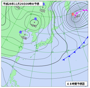 12月29日(火)9時の予想天気図