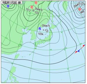 11月30日(水)6時の実況天気図