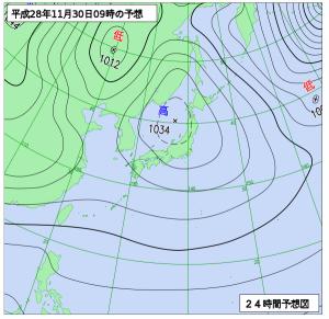 11月30日(水)9時の予想天気図
