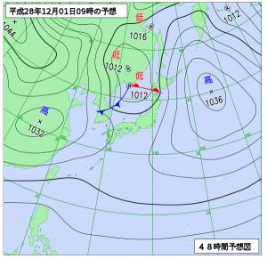 12月1日(木)9時の予想天気図