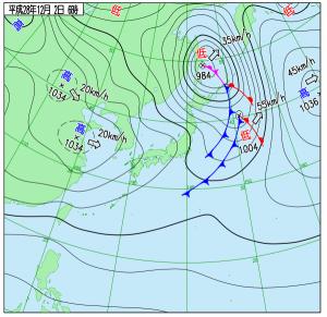 12月2日(金)6時の実況天気図