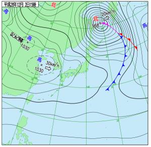 12月2日(金)15時の実況天気図