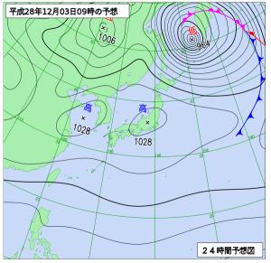 12月3日(土)9時の予想天気図