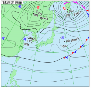 12月3日(土)15時の実況天気図
