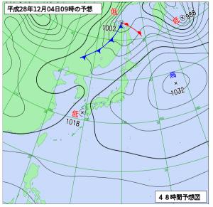 12月4日(日)9時の予想天気図