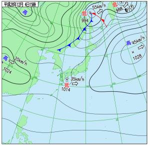 12月4日(日)15時の実況天気図