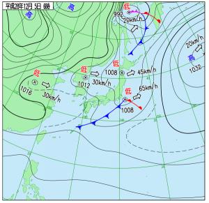 12月5日(月)6時の実況天気図