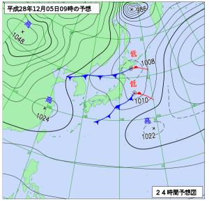 12月5日(月)9時の予想天気図