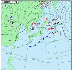 12月5日(月)15時の実況天気図