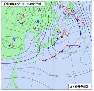 12月6日(火)9時の予想天気図