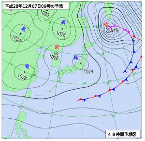 12月7日(水)9時の予想天気図
