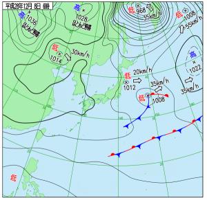 12月8日(木)6時の実況天気図