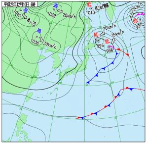 12月10日(土)6時の実況天気図